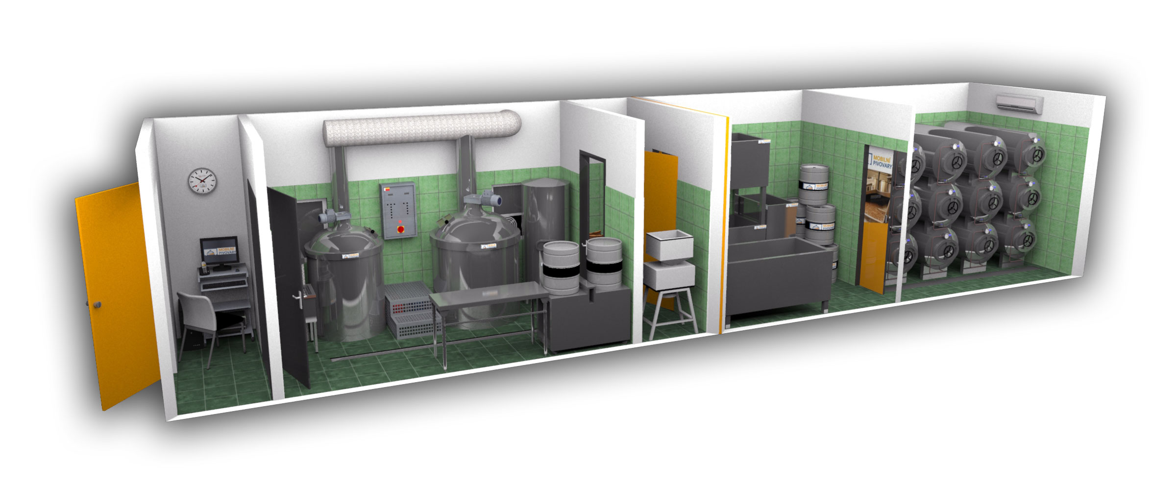 Two-containers microbrewery MOBBEER - interior 1