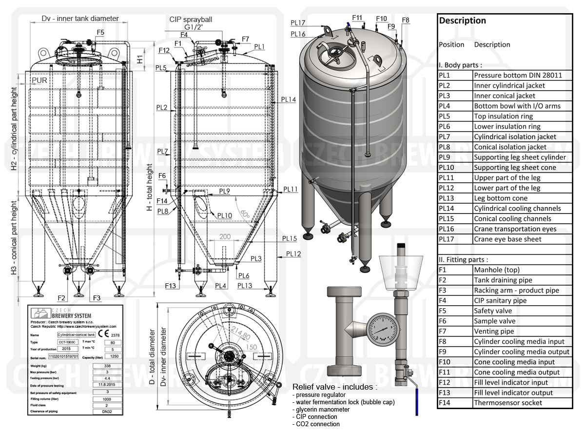 Cct cylindrical conical fermentation tanks cmb equipment of the cylindrical conical fermentation beer tank classic insulated cooled with waterglycol pooptronica