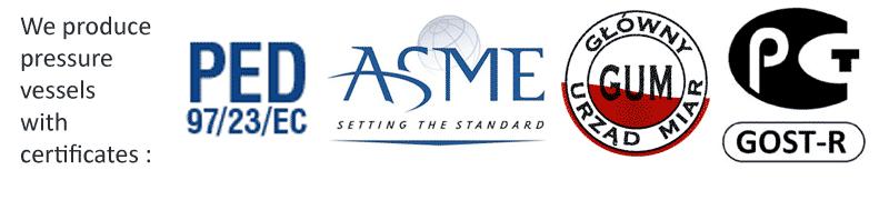 Certificates PED-ASME-GUM-GOST