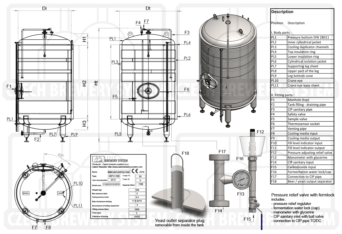 Beer lager maturation tank - vertical, insulated - description