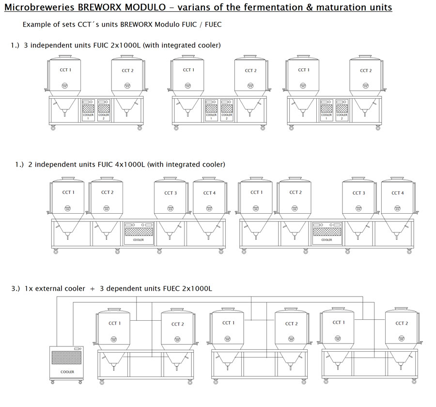 Variants of fermentation Units Breworx Modulo