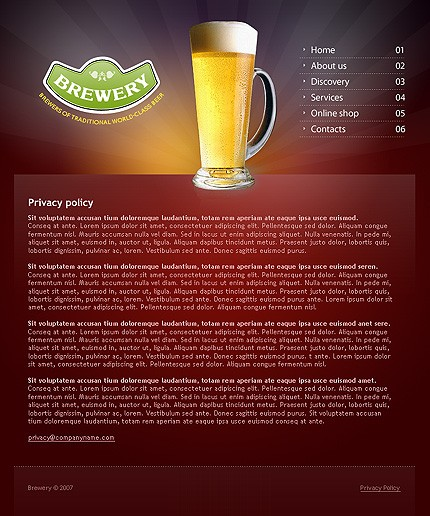 Preparing of the basic brewery web presentation