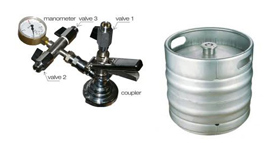 Manual filling beer into kegs