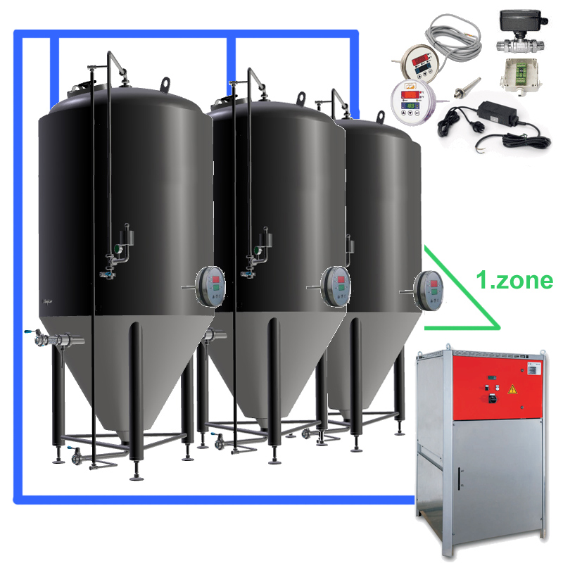 CFS sets with beer fermentors and cooling system, temperature control on the tanks for one cooling zone per fermentor