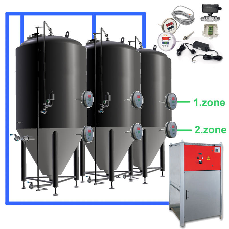 CFS sets with beer fermentors and cooling system, temperature control on the tanks for two cooling zones per fermentor