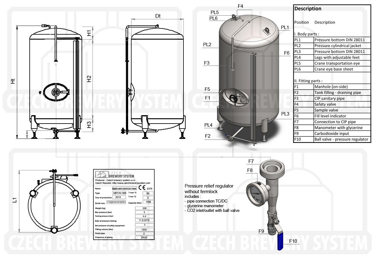 BBTVN 2000 2015 description en - BBTVN   Serving tanks   Bright beer tanks   vertical, non-insulated, air