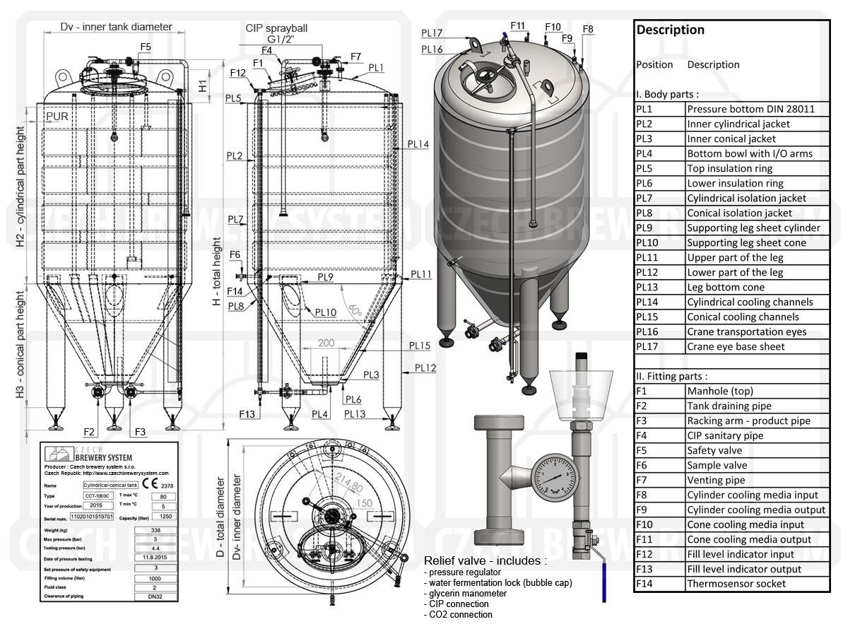 CCT 1000C Popis 2015 - CCT | Cylindricky kónické tanky | Kuželové pivní fermentory