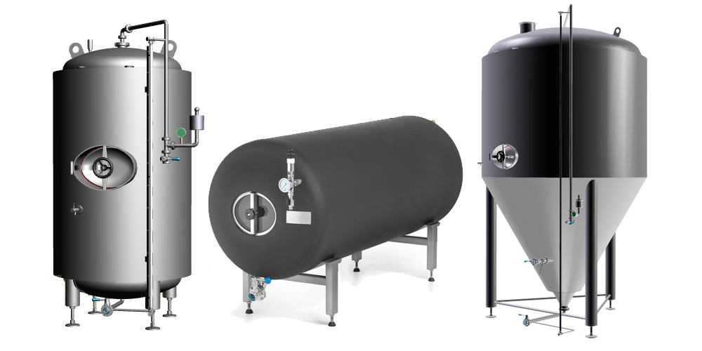 Beer production tanks