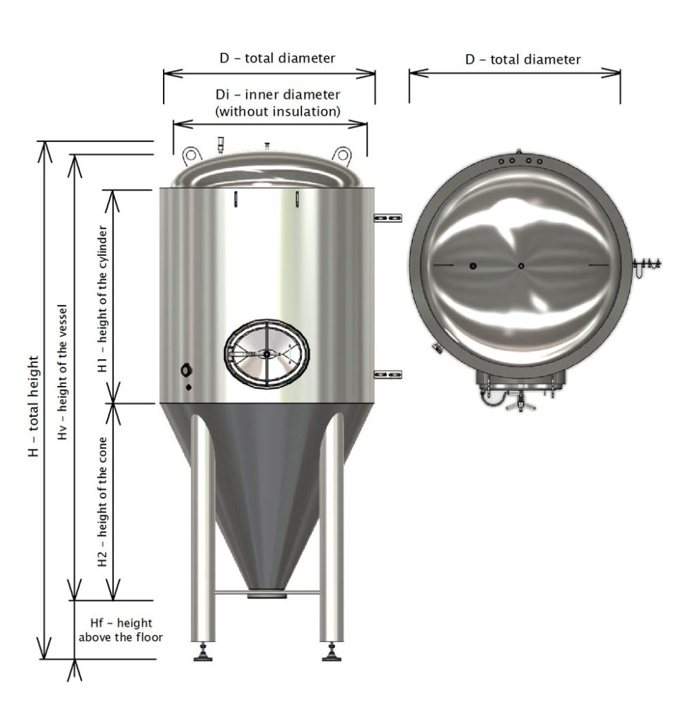 Basic tank of the CCT-M modular fermentors - Dimensions