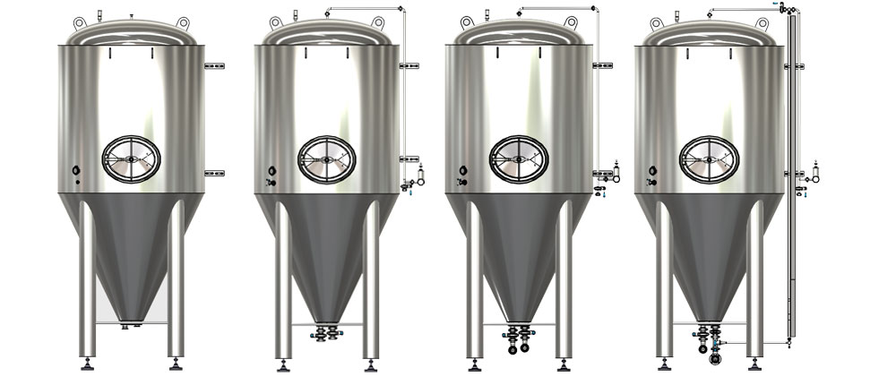 Cylindrically-conical fermentation tanks with a modular design