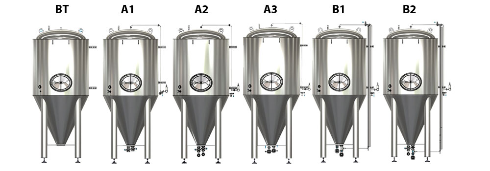 CCT M modular cylindrical conical tanks allsets marked 1000x350 - CCTM | Modular cylindrically-conical tanks (modular beer fermenters)