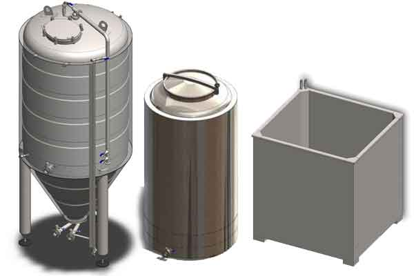 Primary beer fermentation tanks