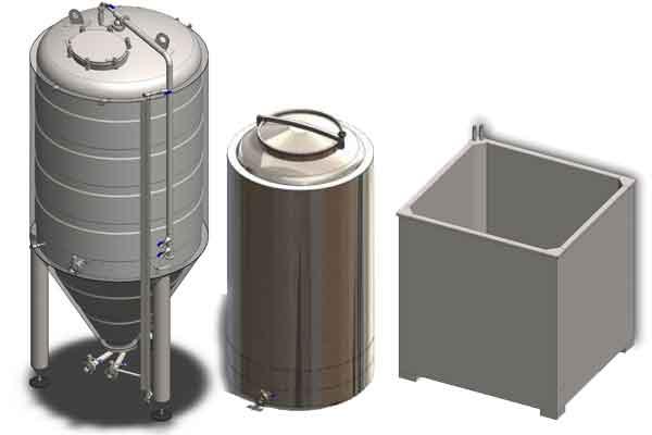 Primární kvasné tanky na hlavní kvašení piva