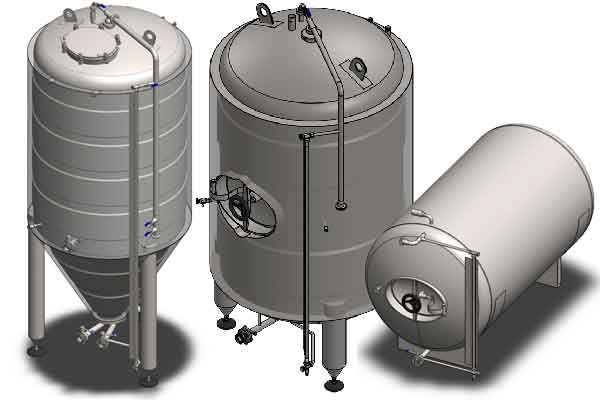 Secondary beer fermentation tanks