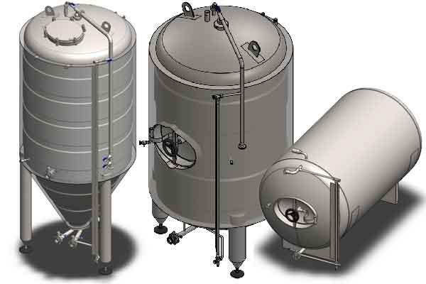 Secondary beer fermentation tanks