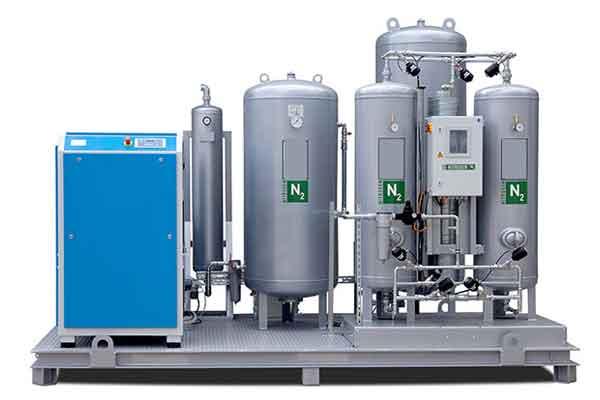 Nitrogen generators for the production of pressured nitrogen gas