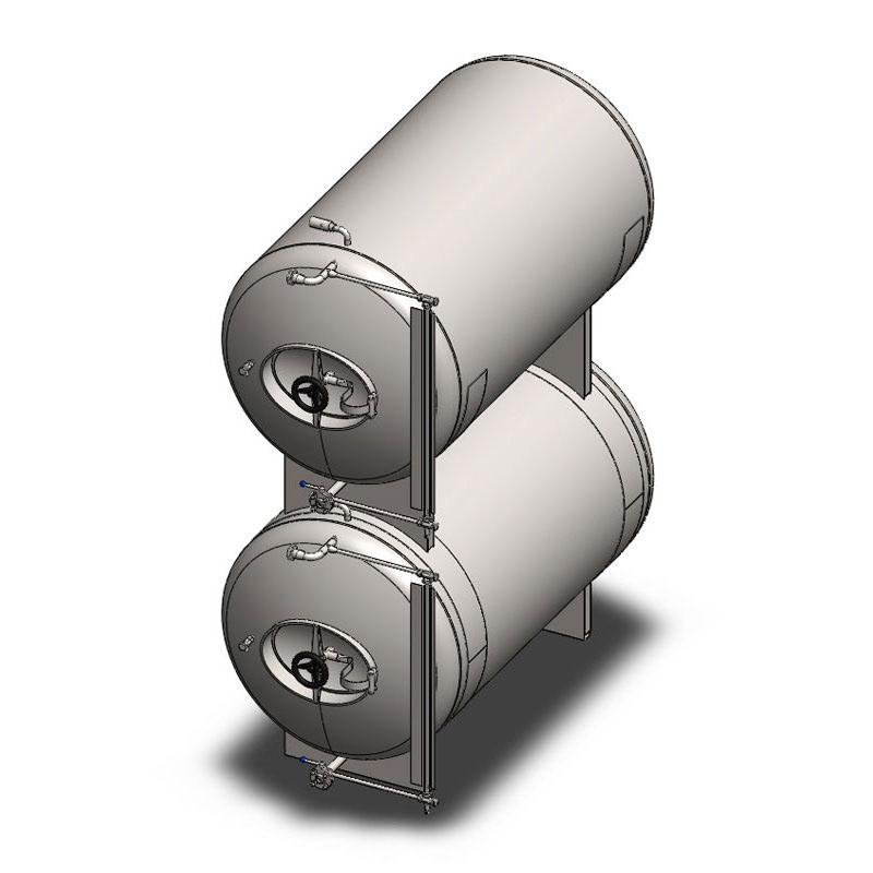 BBTHI - Cylindrické pivní kondicionační a skladovací nádrže: horizontální, izolované, chlazené vzduchem